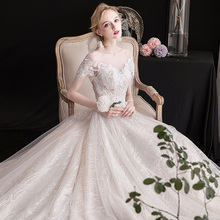 轻主婚ch礼服202am冬季新娘结婚拖尾森系显瘦简约一字肩齐地女