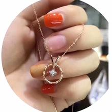 韩国1chK玫瑰金圆amns简约潮网红纯银锁骨链钻石莫桑石