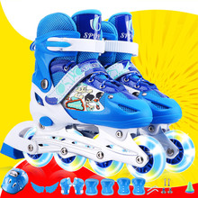 溜冰鞋ch童初学者轮am(小)学生(小)孩旱冰鞋直排轮闪光可调