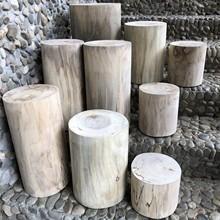 天然实ch原木樟木��am班台支架茶墩凳子圆木椅子
