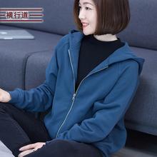202ch春季妈妈式yu衣女装拉链短外套长袖宽松大码帽衫中年上衣