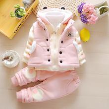 童装女童1冬装2加绒加ch8套装0-mp3女宝宝冬季纯棉卫衣三件套
