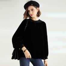 黑色真ch丝绒上衣女ef0春季新式长袖半高领蕾丝拼接金丝绒女衬衫