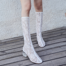 新式蕾ch萝莉女二次nu季网纱透气高帮凉靴不过膝粗跟网靴