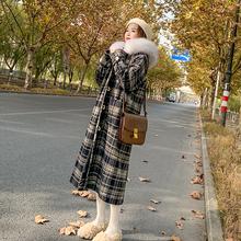 格子毛ch外套女20en冬装新式中长式秋冬加厚(小)个子毛领呢子大衣