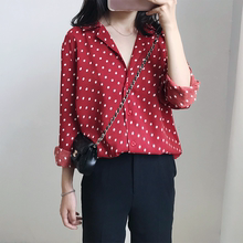 春夏新chchic复en酒红色长袖波点网红衬衫女装V领韩国打底衫