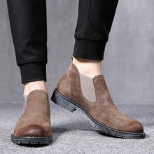 202ch春夏新式英ng切尔西靴真皮加绒反绒磨砂发型师皮鞋高帮潮