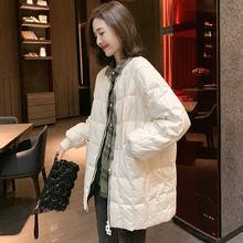 欧洲站ch020冬装on货女轻薄式亮面时尚白鸭绒中长式外套