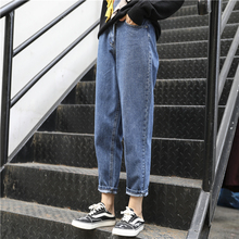 新式大ch女装202on春式穿搭胖的宽松洋气胖妹妹显瘦牛仔裤爆式