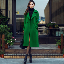 202ch冬季女装欧on西装领绿色长式呢子大衣气质过膝羊毛呢外套