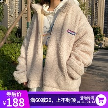 UPWchRD加绒加on绒连帽外套棉服男女情侣冬装立领羊羔毛夹克潮