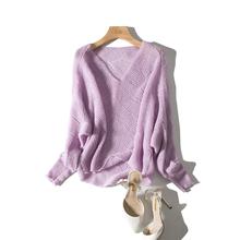 精致显ch的马卡龙色on镂空纯色毛衣套头衫长袖宽松针织衫女19春