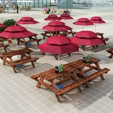 户外防ch碳化桌椅休rl组合阳台室外桌椅带伞公园实木连体餐桌