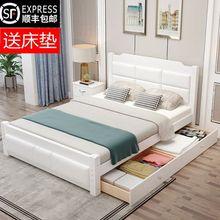 全实木ch1.8米现rl软包双的床 家用主卧网红床 松木储物家具