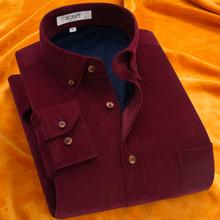 冬季灯ch绒长袖保暖rl中老年加绒加厚保暖衬衣男装条绒休闲潮