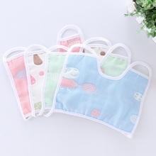 新生婴ch纯棉6层纱rl方形口罩防水宝宝围兜吸水3-5条装