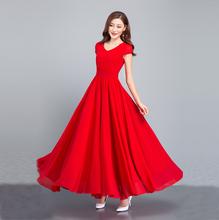 连衣裙ch2020夏ei修身雪纺大摆长裙 V领波西米亚裙气质沙滩裙
