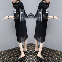 欧洲站ch021夏季le码女装宽松显瘦中长式印花蕾丝拼接连衣裙潮