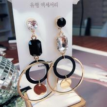 欧美夸ch不对称耳环e2钻气质银针耳坠时尚简约个性耳饰品女潮