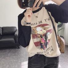 减龄式卡通猫咪宽ch5磨毛加厚ck衫插肩袖长袖T恤女式秋冬X
