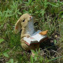 真自在ch爱兔子摆件ek卡通公仔汽车树脂创意(小)生日礼物送女生