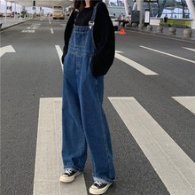 春夏2ch20年新式en款宽松直筒牛仔裤女士高腰显瘦阔腿裤背带裤