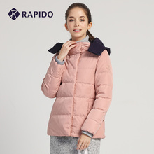RAPchDO雳霹道ng士短式侧拉链高领保暖时尚配色运动休闲羽绒服