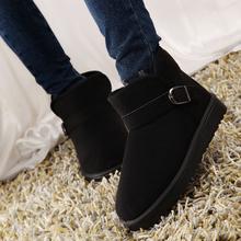 冬季防滑ch1暖短筒雪ng子学生平底短靴冬靴棉鞋情侣男女鞋潮