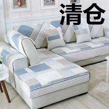 特价清ch纯棉沙发垫ng用布艺欧式全棉简约现代防滑罩巾