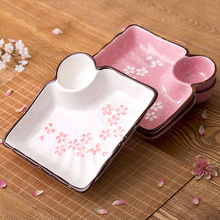 大号带ch碟陶瓷分格ui意日式餐具家用方形水饺盘子托盘