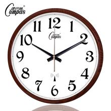 康巴丝ch钟客厅办公en静音扫描现代电波钟时钟自动追时挂表