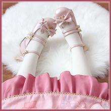 甜兔座ch货(麋鹿)rrolita单鞋低跟平底圆头蝴蝶结软底女中低
