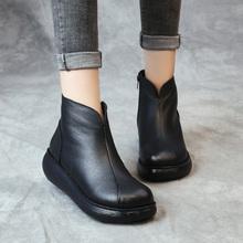 复古原ch冬新式女鞋ng底皮靴妈妈鞋民族风软底松糕鞋真皮短靴