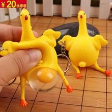 12装ch蛋母鸡发泄an钥匙扣恶搞减压手捏搞宝宝(小)玩具