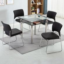 钢化玻璃二层四方桌子办ch8现代简约ch待室会客洽谈桌椅组合