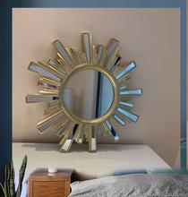 新式欧ch浴室镜金色la贴圆化妆镜玄关太阳造型装饰镜壁挂镜子