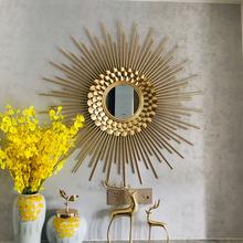 欧式太ch镜壁挂装饰la面镜子铁艺轻奢装饰沙发背景墙创意挂件