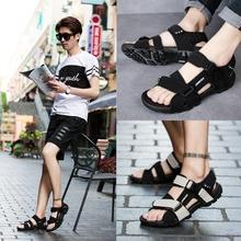 越南凉ch男士202la新式网红皮韩款罗马学生时尚运动休闲沙滩鞋
