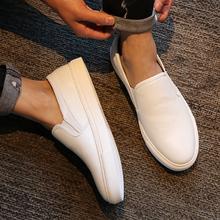 夏季潮ch男士(小)白鞋te脚蹬韩款百搭乐福鞋运动休闲男鞋
