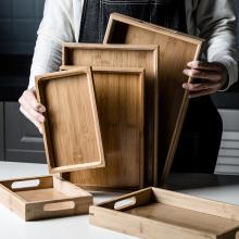 日式竹ch水果客厅(小)te方形家用木质茶杯商用木制茶盘餐具(小)型