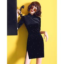 黑色金ch绒旗袍年轻ll少女改良冬式加厚连衣裙秋冬(小)个子短式