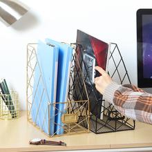 北欧简ch文件夹收纳ll用品资料铁制收纳框学生桌面书架置物架