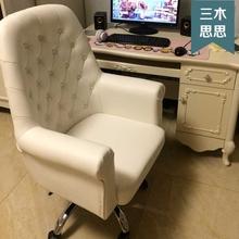 网红主ch椅女电脑欧ll美容主播家用真皮椅白色办公直播主播椅