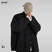 BJHch春2021ng衫男潮牌OVERSIZE原宿宽松复古痞帅日系衬衣外套