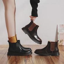 伯爵猫ch冬切尔西短tu底真皮马丁靴英伦风女鞋加绒短筒靴子