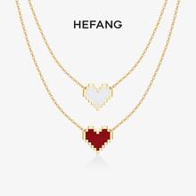 HEFchNG何方珠tu白K金项链 18k金女钻石吊坠彩金锁骨链生日礼物