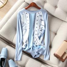 华丽配色  优雅 欧式抽象艺术缎ch13印花拼tu针织衫上衣女