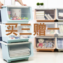 宝宝玩ch收纳架子宝tu架玩具柜幼儿园简易塑料多层置物架翻盖