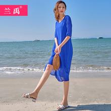 裙子女2020新ch5夏蓝色雪tu假连衣裙波西米亚长裙沙滩裙超仙