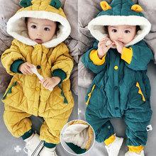 婴儿衣ch冬装6-1tu八宝宝加厚保暖棉衣一岁加绒连帽外出连体衣